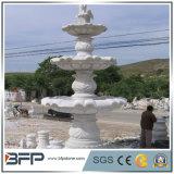 Fuente de agua de piedra tallada mármol blanco para la decoración de los alrededores del jardín