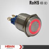 Ce ISO9001 22mm Schakelaar van de Drukknop van het AntiRoestvrij staal van de Vandaal de Kortstondige met LEIDENE van de Ring Verlichting