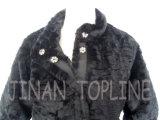Manteau de fourrure à fausse fourrure longue et longue femme avec boutons