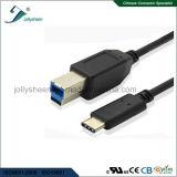 De Kabel van de Printer USB met het Mannetje van het Type C aan het Zwarte Hoofd van pvc USB B/Male