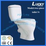 La toilette en deux pièces oblongue blanche de hauteur du confort 2016 P-Enferment, modèle neuf l'ivraie que sanitaire lavent vers le bas la toilette Jx-7#
