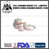 Blumen-Abziehbild-Decklack-Roheisencookware-Set des China-Lieferanten-5PCS