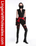 여자의 허리 창틀 팔 온열 장치 가면은 Ninja Catsuit 복장을 감싼다