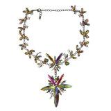 Da gema robusta Maxi da colar do Choker de Instagram do Rhinestone colar de cristal da indicação da flor