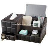 PUのリモート・コントロール/コントローラTVガイド/メール/CDオルガナイザーのための革収納箱のティッシュボックス