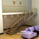 Wooden Handrail를 가진 유리제 Straight Staircase