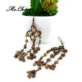 A flor alaranjada requintado do Rhinestone oscila a jóia da forma dos brincos de gota
