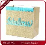 Il sacchetto perfezionamento del regalo ha priorità bassa di scintillio dell'oro, il sacchetto di carta del regalo, il sacchetto della carta kraft, Sacco di carta d'acquisto