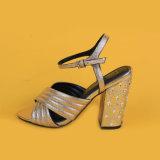 2017 sandali d'argento dell'alto tallone delle signore delle donne di estate di modo