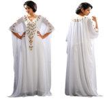Maxi Kaftan di Abaya delle donne del manicotto lungo chiffon musulmano all'ingrosso del merletto