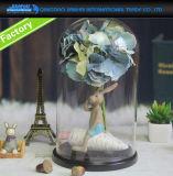 купол стеклянного колпака Cloche постоянного посетителя 22*30cm стеклянный с Bamboo подносом