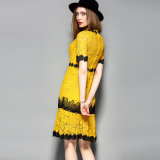 Amarillo y Rosa Impreso Encaje Vestido Casual Mujer