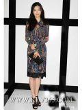 Платье длинней печати способа втулки Silk для повелительниц