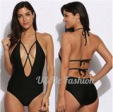 Großverkauf-Badeanzug schwarzer tiefer der v-Stutzen-reizvoller Bikini-Frauen-2017
