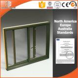 Double qualité en verre et guichet de glissement bon marché pour l'appartement, guichet de glissement en aluminium en bois solide de type de l'Amérique du Nord