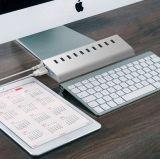 Aluminium 10 Kanäle - Port-Naben-Kanäle 3.0 und 3-Charging USB-7, bewegliche Nabe für Mac oder Schreibtisch, MacBook Pro, Mac Mini oder irgendeine Anmerkung