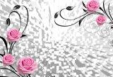 Salle de séjour de haute qualité Peinture à l'huile 3D Papier mural à fleurs roses