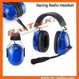 Auriculares do capacete azul da motocicleta com cancelamento do ruído & cabo de XLR para o Walkietalkie de rádio em dois sentidos