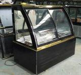 Gebogener Glastür-Kuchen-Kühlvorrichtung-Kuchen-Schrank-Schaukasten für Imbiss-Bildschirmanzeige