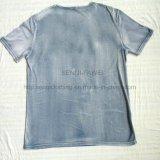 O verão desvaneceu-se t-shirt de lavagem na roupa Fw-8676 da malhas do esporte do homem