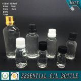 Прозрачная стеклянная бутылка эфирного масла с крышкой капельницы