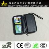 Caixa preta do telefone móvel da carteira com suporte de cartão