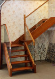 Escalier en verre en bois solide de mode simple