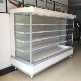 Refrigerador delantero abierto de la visualización del anuncio publicitario del supermercado para el congelador del escaparate de la fruta de la bebida