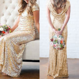 Stunning Gold Sequins Short Sleeves Party Vestido de dama de honra (Dream-100047)