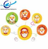 Anillo antiadherente del huevo del silicón Shaped de la pista de la cara de la categoría alimenticia