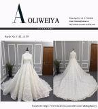 Vestido de casamento elevado do laço da garganta da luva longa do vintage