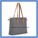 Saco de mão portátil Eco-Friendly da compra de feltro de lãs do projeto simples, saco de Tote macio personalizado com o punho confortável de couro