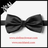 100% de seda feito sob encomenda de gravata preta por atacado preto