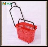 40 litres de supermarché de roulis d'achats de panier de main en plastique Mjy-Tr02