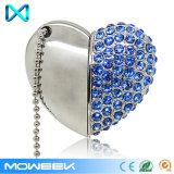 Movimentação de cristal do flash do USB do armazenamento da jóia do coração