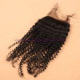 capelli brasiliani del Virgin 8A con riccio crespo della chiusura bassa di seta con i capelli ricci crespi del Virgin della chiusura bassa di seta con chiusura