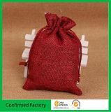 Venda Por Atacado saco de presente de corda de juta pequena Jute Burlap Drawstring Bag