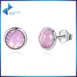 Popular 925 Sterling Silver April Gotas, Rock Crystal Stud Earrings