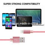 Câble usb de remplissage du câble 8pin de synchro d'accessoires de caractéristiques tressées en nylon mobiles en métal pour l'iPhone
