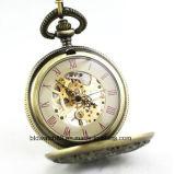 Reloj Pocket esquelético mecánico de la venta caliente con el encadenamiento