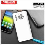 Kingleen Modelo C380 Grande capacidade e alta qualidade Banco de energia 20000mAh com luz LED Fábrica Venda direta