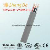 Tsyv75-4+Tvvb2X1.0+G elektrisches flexibles flaches Aufzug-koaxialkabel