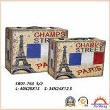 Antiguidade de madeira a caixa de jóia da caixa de presente da caixa de armazenamento da mala de viagem da cópia do teste padrão da torre Eiffel