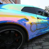 Tsautop Hot Selling 1.42 * 20m imperméable à l'eau à bulle d'air libre Adhésif adhésif en vinyle en vinyle Autocollant Rainbow Laser Chrome Car Sticker