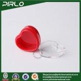 tarro plástico de la dimensión de una variable del corazón del color rojo 3G, pequeño crisol poner crema plástico, mini tarro cosmético de la crema del ojo con el casquillo claro