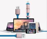 2 en 1 câble micro de chargeur de synchro de foudre d'USB pour l'iPhone androïde