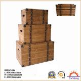 나무로 되는 선물 저장 상자 자연적인 완료를 중첩하는 골동 가구 악센트