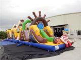 Campo de jogos inflável do curso de obstáculo do pirata do preço barato da fábrica para miúdos