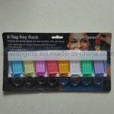 Etiquetas dominantes plásticas al por mayor, Keyrings plásticos, etiqueta dominante con la tarjeta en blanco de la identificación