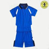 Uniforme de la ropa de deportes de la camisa de polo del muchacho de escuela del azul de marina para el deporte del verano
